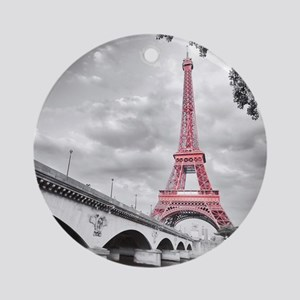 Pink Eiffel Tower Round Ornament