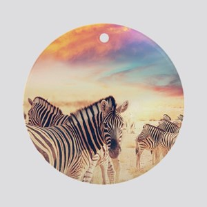 Beautiful Zebras Round Ornament