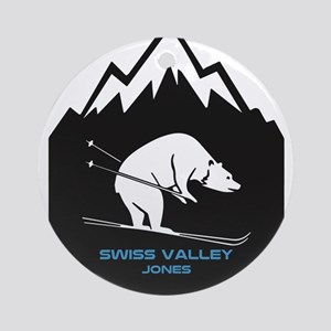 Swiss Valley Ski and Snowboard Area Round Ornament