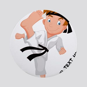 PERSONALIZED KARATE BOY Round Ornament