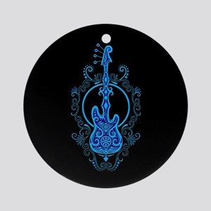Intricate Blue Bass Guitar Design on Black Ornamen