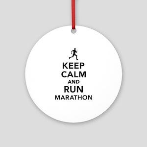 Keep calm and run Marathon Round Ornament