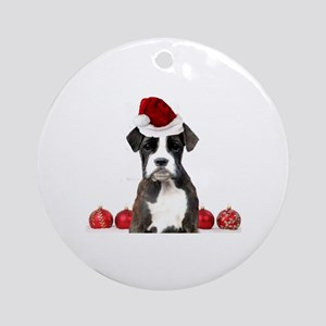 Christmas Boxer Dog Round Ornament
