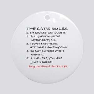 THE CAT'S RULES Round Ornament