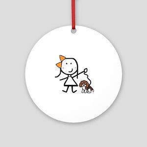 Girl & Beagle Ornament (Round)
