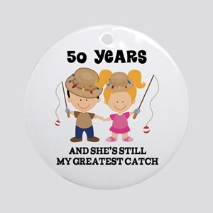 50th Anniversary Mens Fishing Ornament (Round)