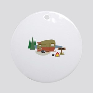 Camping Trailer Ornament (Round)
