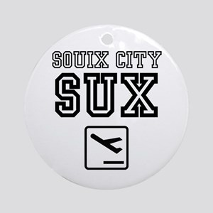 SOUIX CITY SUX - AIRPORT CODE SIGN Round Ornament
