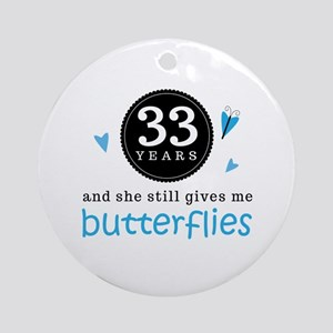 33 Year Anniversary Butterfly Ornament (Round)