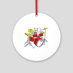 Drums Cat Ornament (Round)