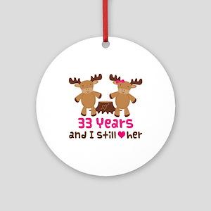 33rd Anniversary Moose Ornament (Round)