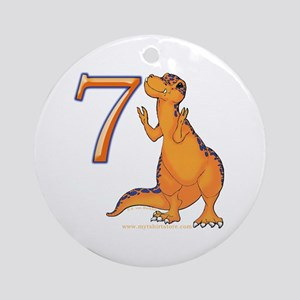 Kids Dino 7th Birthday Gifts Ornament (Round)