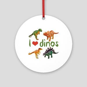 I Love Dinos Round Ornament