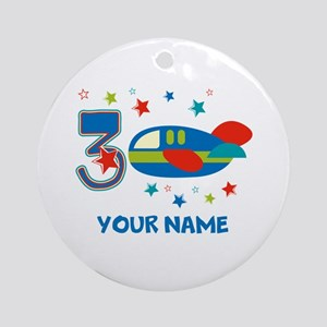 3rd Birthday Airplane Ornament (Round)