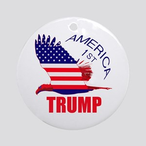 Trump America First Eagle Round Ornament