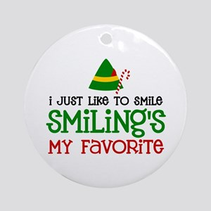 Smiling Is My Favorite Ornament (Round)