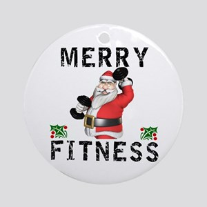 Merry Fitness Santa Round Ornament