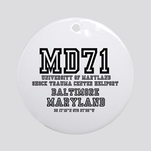 UNIVERSITY AIRPORT CODES - MD71 - U Round Ornament
