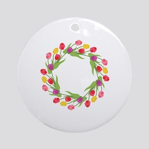 Tulips Wreath Round Ornament