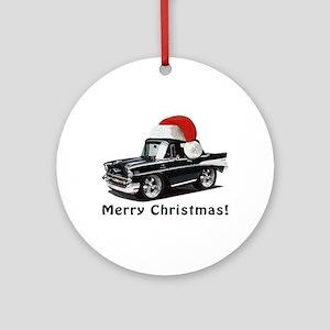 BabyAmericanMuscleCar_57BelR_Xmas_Black Ornament (