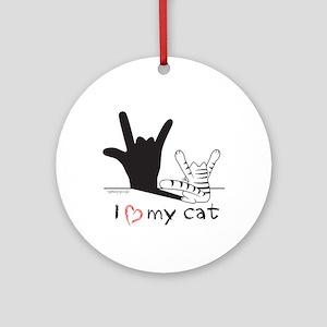 I Love My Cat Round Ornament