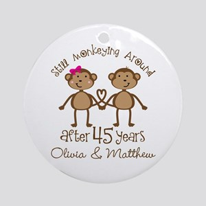 45th Wedding Anniversary Personalized Round Orname