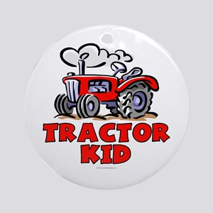 Red Tractor Kid Ornament (Round)
