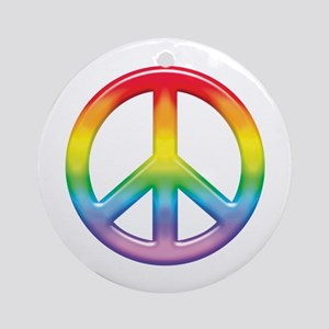 Gay Pride Rainbow Peace Symbol Ornament (Round)
