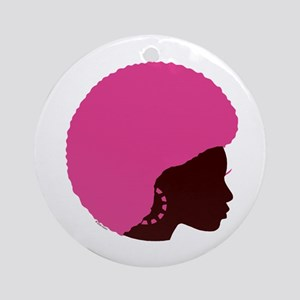 Pink Afro Ornament (Round)