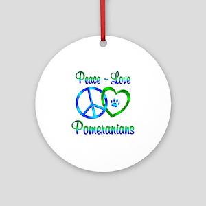 Peace Love Pomeranians Ornament (Round)