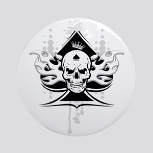ace of spades skull Round Ornament