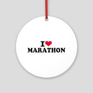 I love Marathon Round Ornament