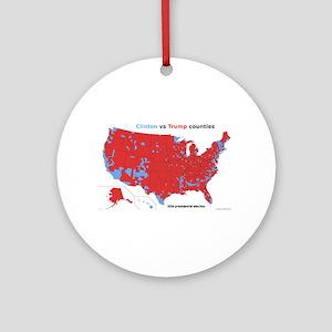 Trump vs Clinton Map Round Ornament