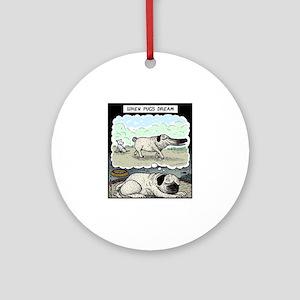 When Pugs dream Round Ornament