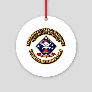 1st - Reconnaissance Bn With Text USMC Ornament (R