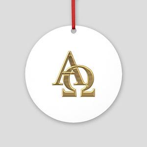 """""""3-D"""" Golden Alpha and Omega Symbol Ornament (Roun"""