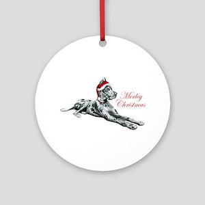 Great Dane Merley Christmas Ornament (Round)