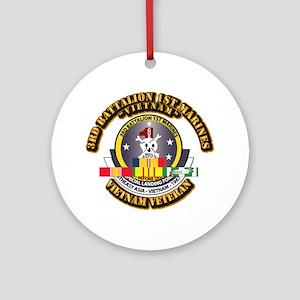 SSI - 3rd Bn - 1st Marines w VN SVC Ribbon Ornamen