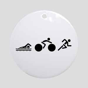 Triathlon Icons Round Ornament