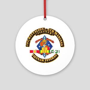 1st Bn - 4th Marines w VN SVC Ribbon Ornament (Rou