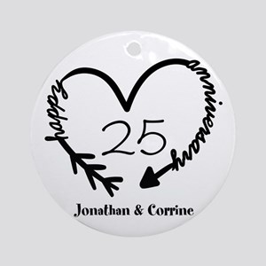 Custom Anniversary Doodle Heart Round Ornament