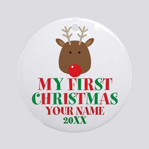 First Christmas Personalized Round Ornament