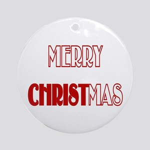 Merry Christmas Round Porcelain Christmas Ornament