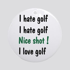 I Hate/Love Golf Ornament (Round)