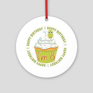 8th Birthday Cupcake Ornament (Round)