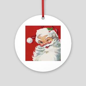 Vintage Christmas Jolly Santa Cla Ornament (Round)