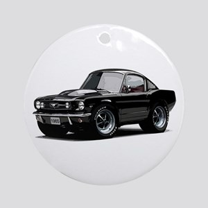 abyAmericanMuscleCar_65_mstg_Xmas_Black Ornament (