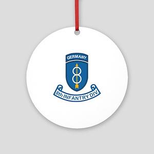 Army-8th-Infantry-Div-Germany-Scrol Round Ornament