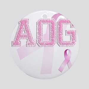 AOG initials, Pink Ribbon, Round Ornament