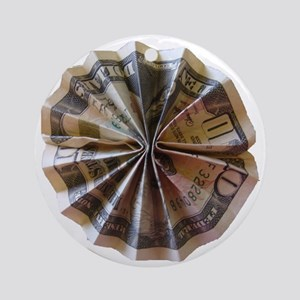 Money Origami Rosette Round Ornament
